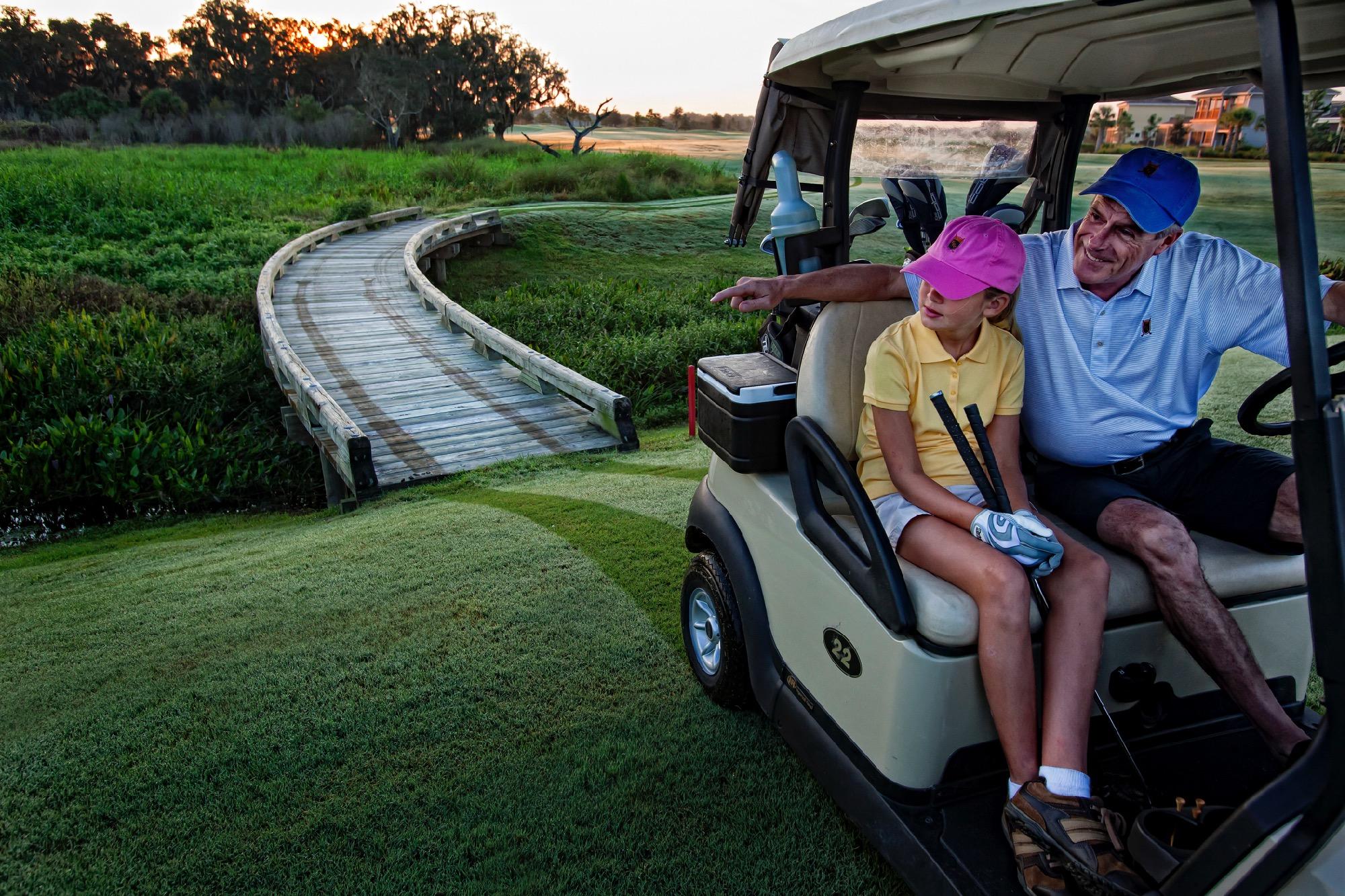 Grandfather_Granddaughter Golf Cart