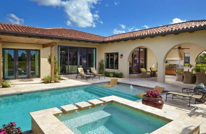 The Girona home in Sarasota offers a relaxing outdoor living space.