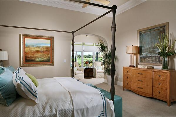 Botanical inspired colors and materials perfectly suit a master retreat
